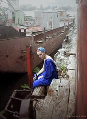You NEVER Run of a Barge I (Bondart) Tags: blue boy man male fashion model photoshoot muscle decay ukraine kiev abs kyiv decadence misfits jumpsuit