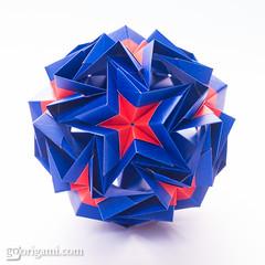 Origami Kusudama (Maria Sinayskaya) Tags: origami folded 10010 modularorigami kusudama mariasinayskaya мариясинайская kamipaperduocolorcolor 15cmdoublesided daiyoshiko shortbronzerectangle rectangle52sqrt3