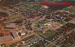 Northern Michigan University - Marquette, Michigan (The Cardboard America Archives) Tags: vintage university michigan postcard aerialview marquette ion