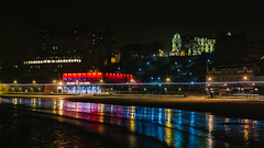 Scarborough Illuminated (Mark Heslington Photography) Tags: scarborough north yorkshire england uk united kingdom landscape seascape nightscape beach shore reflection grand hotel royal sand waves ocean water futurist theatre