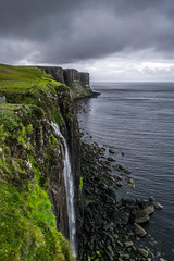 Kilt Rock (herrknilch) Tags: landscape scotland clouds cloudy cliffs travel nature wilderness waterfall highlands isle skye weather seashore silver green grass rocks cold summer harsh united kingdom uk hiking wild rough coast sea water seascape