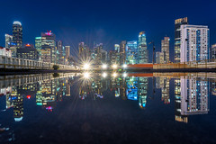 Reflection of the Cityscape (BP Chua) Tags: singapore city cityscape reflection blue hour bluehour buildings water puddle colors lights starburst nikon nikond750 nikonsg asia