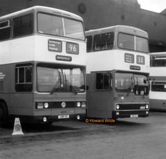 GMT 4011 (GNF 11V), 5005 (GBU 5V) (SelmerOrSelnec) Tags: gmt leyland titan tnlxb parkroyal gnf11v mcw metrobus gbu5v cheetham manchester boylestreet museumoftransport gmts springtransportfestival bus monochromatic