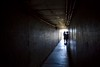 Tunnel Silhouettes (fungusflower) Tags: shadows light highlights lowlights length pipes walls stone tunnel people silouettes gray brown cold old black white long leaning interior digital nikon d3100 hawaii november tight