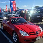 Pete & Clare very excited nice new Mercedes SLK- Sourced direct from Japan by Ben at Richmond.
