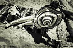 Early summer beach-13 (~138~) Tags: ocean sea summer blackandwhite bw beach sports water girl hat lady giant happy bc action vancouverisland pacificocean hotgirl skim skimboard coolhat vanisle aw1 dereklawrence derek138
