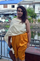 wearing a thai traditional dress