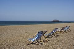 A Deserted Brighton Beach Before The En Masse Of Sunbathers (grahambrown1965) Tags: seascape west beach water 35mm sussex pier chair brighton deckchair chairs pentax shingle deck westpier seafront deckchairs justpentax smcpentaxda35mmf28macrolimited pentaxart pentaxk3ii k3ii