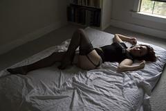 Evie (austinspace) Tags: summer portrait woman stockings panties washington bed bedroom spokane underwear naturallight redhead