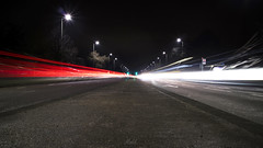 Project 365; #16; Light Trails! (iMalik1) Tags: project 365 one image day photograph photographoftheday imageoftheday picoftheday pic light trails long exposure motion blur principles photography landscape after dark night time cars traffic movement red white posts lamps lamposts motorway freezing cold imalik canon eos m3 canoneosm3 mycanon canonuk canonwhatelse