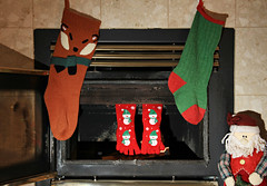 Guess Who Stopped By.... (Cindy's Here) Tags: christmassocks feet stockings christmas seasonal merrychristmas canon ansh fireplace scavenger3