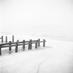 Saginaw River Fog (scott_z28) Tags: yashica 635 tlr 6x6 120 mediumformat film blackandwhite bw ilford panf rodinal 150 epson v600 fog dense foggy surreal winter saginawriver baycity michigan mi tricities dock docks ice frozen minimal