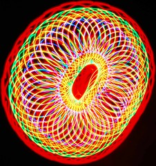 Doughnut (WISEBUYS21) Tags: special effects fx lightshow doughnut sphere atmospheric lights circle interlinked primary colours spring slinky glow glowing wisebuys21 indoor shots photographs