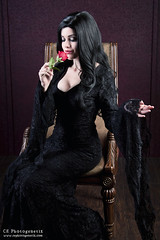 keeping it nerdy morticia 2 (CE Photogenetix) Tags: select morticia addamsfamily addams gothic goth cosplay costume halloween character portrait tv movie horror spooky creepy beauty beautiful woman female dark darkart gown canon40d christinaedwards rose flower