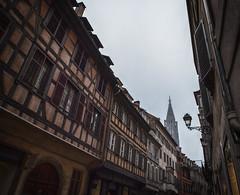 Half-Timbered Strasbourg (lncgriffin) Tags: strasbourg strossburi alsace france républiquefrançaise europe europa ruedesjuifs halftimber architecture steeple shops oldtown grandeîle cathedralenotredamedestrasbourg travel nikon d750 zeiss distagon distagon2128zf hdr