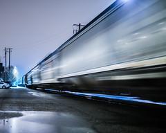 arctic rush (pbo31) Tags: bayarea california color night nikon d810 january 2017 winter boury pbo31 reflection wet rain storms oakland eastbay alamedacounty train freight motionblur infinity white rail track jingletown