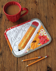 Pencil MugRug (PatchworkPottery) Tags: pencil mugrug mat coaster placemat paperpiecing teacher name patchwork quilt quilted embroidery freemotion quilting patterns patchworkpotterypatterns