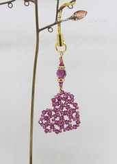Heart Charm (BeeJang - Piratchada) Tags: beadweaving beading beadwork swarovski fuchsia amethyst crystal beads crystals miyuki charm jewelry handmade