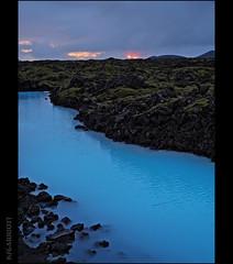 Sunset Blues (KSGarriott) Tags: ksgarriott scottgarriott olympus omd em5ii 1240mm iceland island evening water blue lava volcanic sunset pool rocks moss pond lagoon bluelagoon