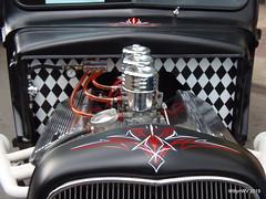 "1947 Ford ""Mr. Modified"" (WillynWV) Tags: show red white black cars ford truck engine pickup chrome westvirginia hotrod trucks custom pinstripe firewall 1947 marshallcounty moundsville ohiovalley openhood gotowv gregyohomemorialcarshow mrmodified"