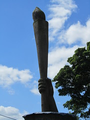 Matlock Bath, Derbyshire. The Heights of Abraham.  A wooden carving of the Olympic torch. (Anne & David (Use Albums)) Tags: theheightsofabraham olympictorch bromsgrove birmingham hanbury northfield thepeakdistrict highley bridgnorth matlockbath mamtor chesterfield