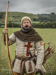 Chalk_Valley_History_Festival_2015_Archer (starworkmedia) Tags: old history leather festival century canon beard army photography living chalk costume clothing media war europe dress cross heart mail time theatre stock lion battle daily medieval valley bow era sword arrows historical hood 5d archery archer middle wiltshire drama 5th period ages 15th 2015 starwork