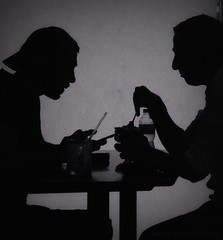 (Anam Sarmad) Tags: blackandwhite food men coffee monochrome blackwhite cafe shadows surreal shady interaction lomoish