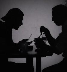 (Anam Sarmad) Tags: blackandwhite food men coffee monochrome blackwhite cafe shadows surreal shady interaction lomoish
