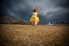 Happy Love to Leap Thursday! (Flickr_Rick) Tags: lovetoleapthursday outside spring girl dress woman skirt jump jumping jumpology clouds blond morgan