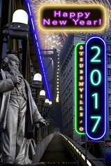 Happy 2017 from Steubenville, Ohio! (Chad E Mason) Tags: happy new year years eve 2017 steubenville stanton steubie ohio neon lights signs general market street bridge sinclair building city celebration party like its 1999 2016 celebrate resolution nikon d7100 composite image photoshop cc creative cloud adobe drawing design cover path crossing over moving forward time calendar human events current