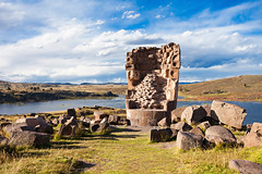 Chullpas de Sillustani (Voyages Lambert) Tags: aymaraindian ancientcivilization sillustani punoregion stonematerial archaeology placeofburial inca scenics ruined journey cultures nature peru theamericas andes landscape laketiticaca lake oldruin tower funerary peruvianculture chullpa umayo