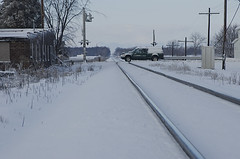 (joeldinda) Tags: nikon d70 nikond70 2006 winter weather snow michigan mulliken village tree factory railroad track sky cloud 1154 january