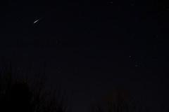 Iridium Flare (LongInt57) Tags: satellite orbit flare communications sky night dark stars black white astronomy science kelowna bc canada okanagan iridium blue trees silhouettes
