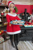 Santa's Favorite Baker (Foxy Belle) Tags: christmas kitchen food diorama holiday 16 scale doll barbie miniature dollhouse red white green old fashioned vintage retro fashion queen fq hat santa dress boots squishy black
