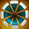 Skylight (Jae at Wits End) Tags: circle circling colorful color window ceiling architecture green yellow shape circular arc building curve glass multicolored opening portal round structure