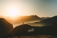 Sunset Hike (noberson) Tags: sunset alps mountains layers fog mist sun landscape scenery hiking hike silhouette