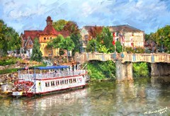 The Bavarian Belle Riverboat and Main St. Bridge over the Cass River in Frankenmuth MI (PhotosToArtByMike) Tags: frankenmuth bavarianbelleriverboat photopainting digitalpainting cassriver frankenmuthmichigan michigan mi michigan'slittlebavaria downtown german germanshops bavarianstyle restaurant christmasshops