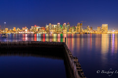 Downtown San Diego at Night (binzhongli) Tags: flickrbest sandiego downtown skyline bluehour california harborisland cityscape night nightphotography longexposure canon canon650d dusk waterfront explore