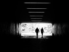 graffiti (Sandy...J) Tags: grafitti streetphotography silhouette people urban underpass tunnel monochrom blackwhite