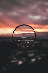 Magnifying glass (Rares'sworld) Tags: magnifyingglass city landscape sunset cityscape creative