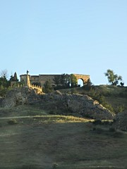 Monument and Roman arch, morning on slope below Medinaceli, Spain (Paul McClure DC) Tags: españa architecture spain roman historic castile castillayleón medinaceli june2014