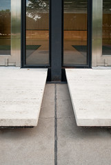 Detail at north elevation entry steps (See.jay) Tags: school shadow chicago detail reflection glass architecture modern campus grid design steel modernism institute architect amour iit shade miesvanderrohe blinds suspended van der ludwig mies institutional frostedglass ibeam crownhall rohe tertiary steelframe illinoisinstituteoftechnology srcrownhall clearspan