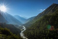 chitkul (Ashmalikphotography) Tags: trees mountains sunrise river bluesky valley himachal himachalpradesh whataview chitkul baspariver