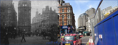 Tottenham Court Road`1900-2015 (roll the dice) Tags: old uk travel england horses people urban bus london art history classic beer westminster fashion mobile architecture shopping underground lost hotel pub alley closed rooms sad phone fitzrovia traffic theatre camden cab taxi transport tube victorian entrance ale collection busy future topless unknown shops local streetfurniture exit cart mad expensive past changes oxfordstreet demolished w1 westend edwardian dominion boozer oldandnew roundel publichouse vanished pastandpresent crossrail bygone hereandnow