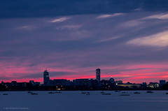 Sunset over Boston (alohadave) Tags: sunset sky water boston skyline bay harbor quincy unitedstates massachusetts places northamerica partlycloudy wollaston wollastonbeach pentaxk5
