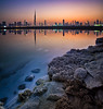 Nowhere ! (Almsaeed) Tags: blue sunset white lake reflection colors rock skyline digital canon lights perfect moments dubai day towers uae eid celebration burning khalifa hour burj blending exposures vetronama