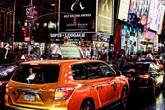 DSC08061a (nick_scotcher) Tags: timessquare taxi nyc newyorkcity manhatten trafficjam billboards advertising rain raining wet