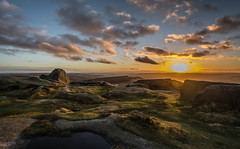 Higger Tor Sunset (johngregory250666) Tags: uk derbyshire rural nature british countryside camera lens green yellow orange stone nikon nikkor hiking walking lines clouds sky blue moss lichen out brook glow grass imagesofengland amazing sunlight water light sun outdoor grassland field landscape hill trees plant serene moors ridge great national park mountain moor moorland dale new d5200 rock formation rays edge heather flower tor world people pass sunrise burbage outside cloud temperature sunset higger view
