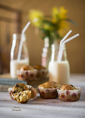 Muffins con zanahoria y pasas (Ivannia E) Tags: muffins magdalenas panqués pan breakfast bread milk leche foodphotography alimentos buenprovecho desayuno dof profundidaddecampo alimento