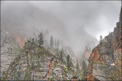 Winter in Zion National Park (Explored) (Runemaker) Tags: zion nationalpark utah winter fog clouds cliffs mountains nature landscape